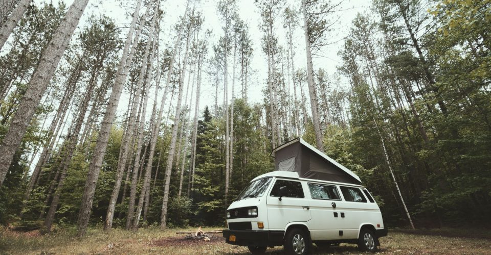 Camper van parked in a forest