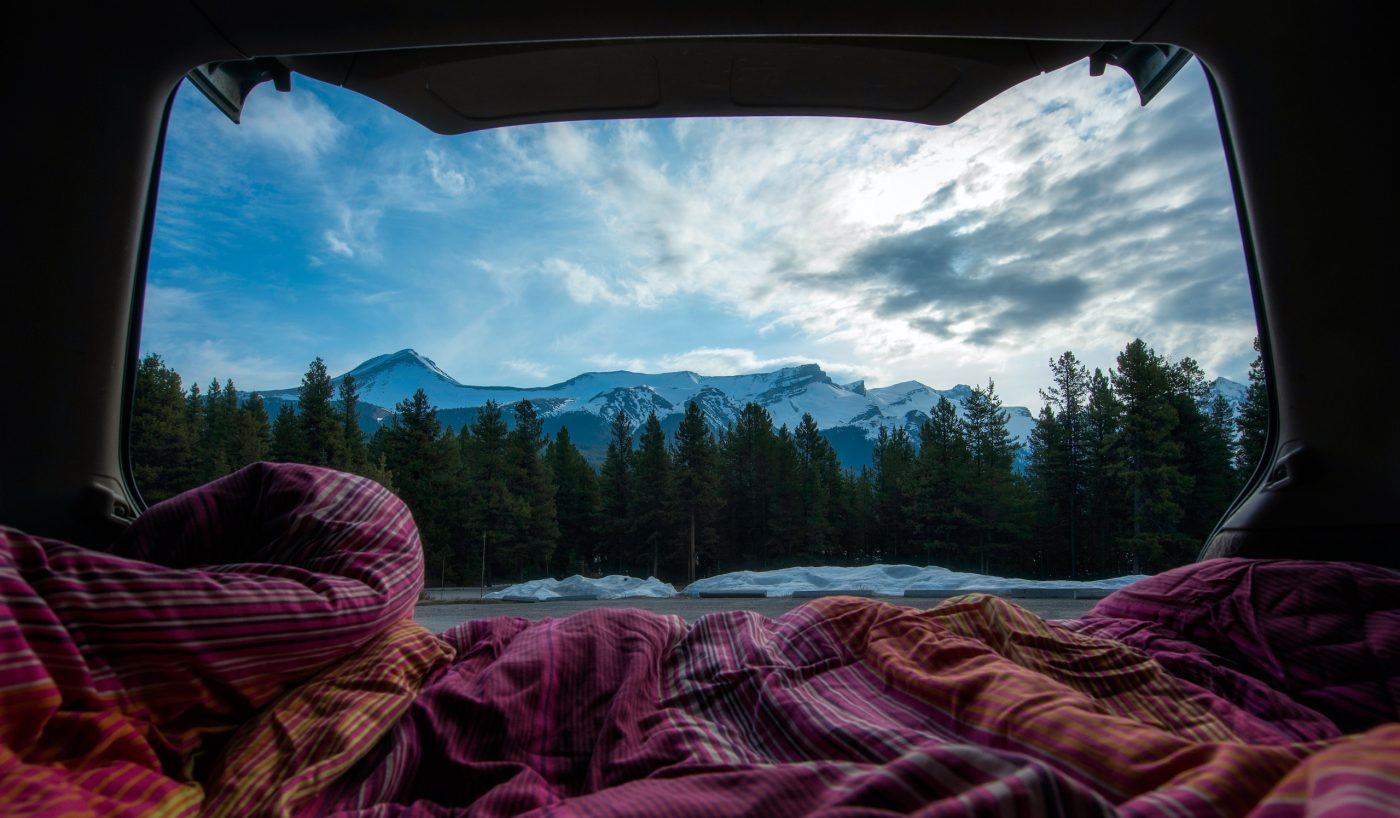 Scenic view from within a camper van
