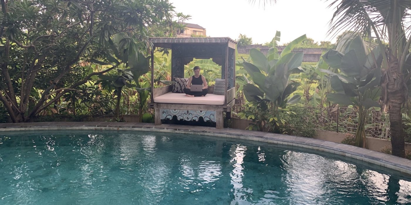 Working at the pool in Bali