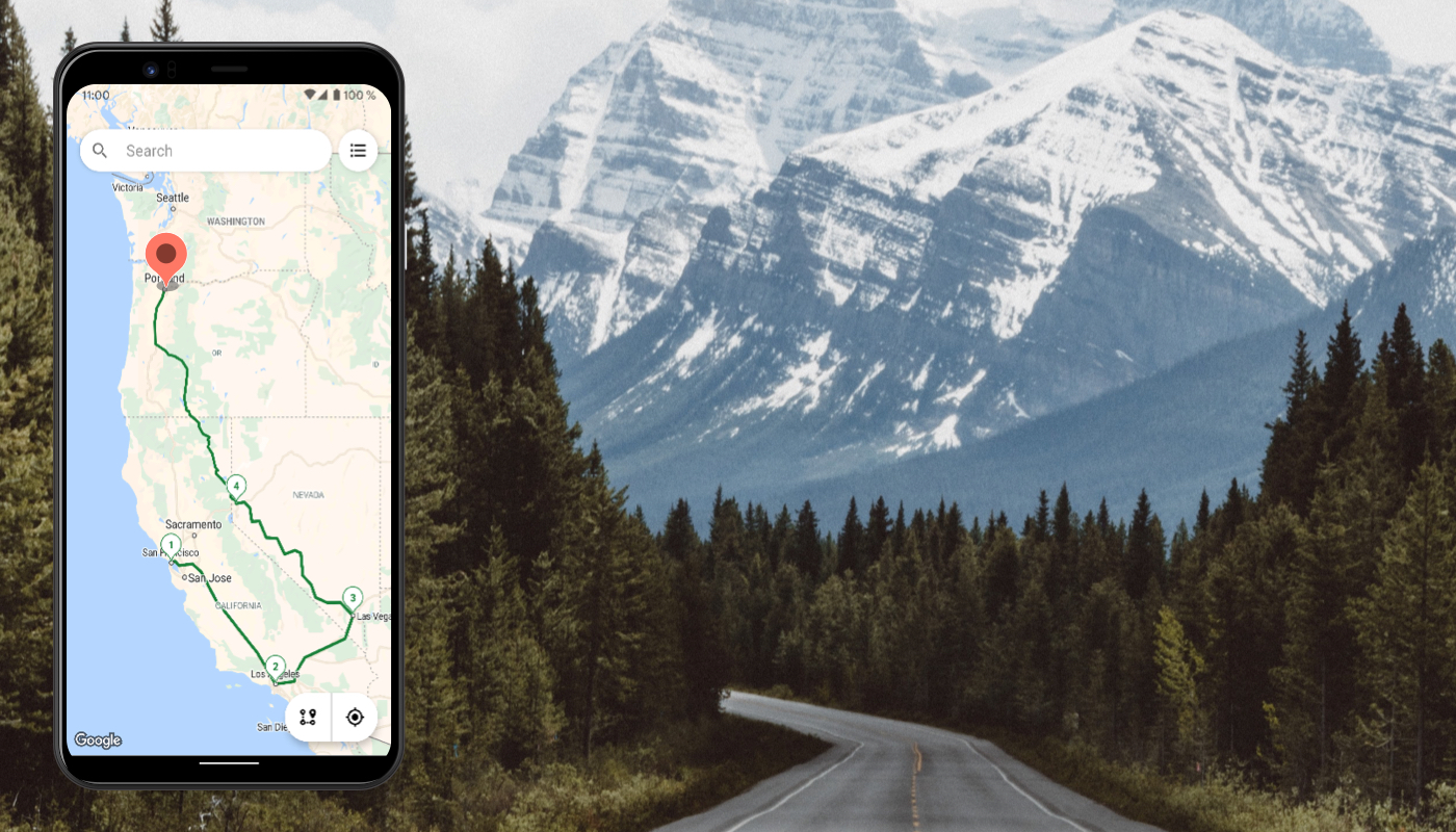 Mountain road and Roadie App