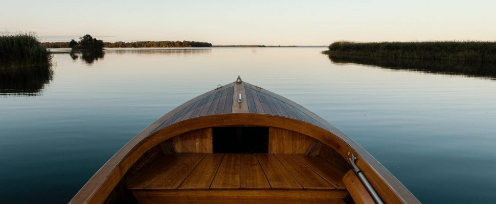 Rowboat on a scenic lake